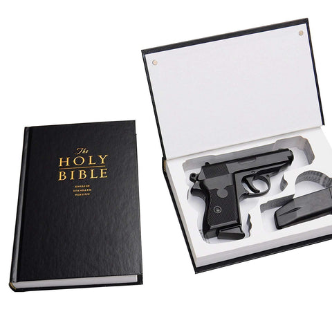 Concealed Gun Storage - Bible Book Safe for Compact Handguns - Diversion Safes - Hide your stash and money in everyday items that contain secret compartments, if they don't see it, they can't get it -Secret Stashing