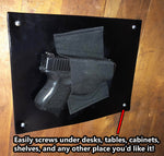 Under The Desk Holster - Concealment furniture and gun concealment furniture to hide your money, pistol, rifle or other weapons, keep guns safe away from kids with hidden compartment furniture -Secret Stashing
