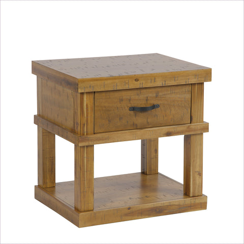 Wood End Table/ Night Stand With One Drawer And One Concealed Pistol Drawer
