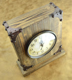 Shabby Chic Rustic Wood Tabletop Clock with Hidden Area