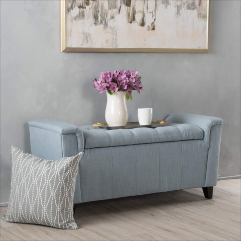 Living Perris Blue Fabric Armed Storage Bench