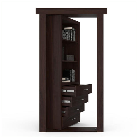Cherry Dark Brown Stained Right-Hand Inswing Secret Door - Concealment furniture to keep your guns and valuables safe from kids and thieves by using secret and hidden compartments -Secret Stashing