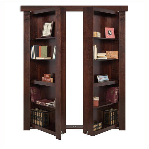 Dark Stained Out-Swing French Hidden Bookcase Door - Concealment furniture to keep your guns and valuables safe from kids and thieves by using secret and hidden compartments -Secret Stashing