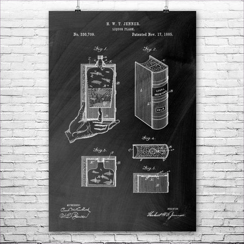 Hidden Flask Poster - Secret Compartment Decor with hidden compartments to stash your valuables -Secret Stashing