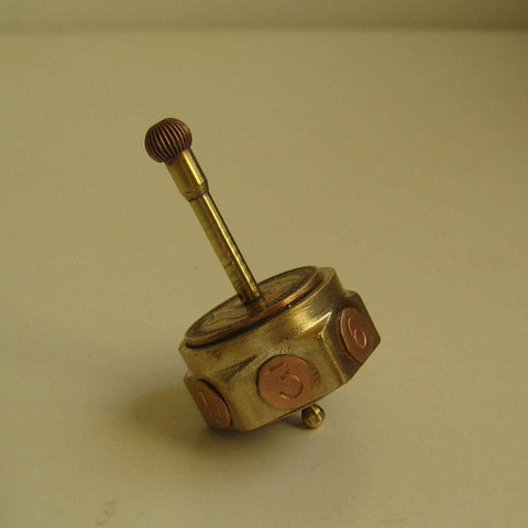 Brass & Copper Spinning Dice Teetotum With Secret Compartment - Diversion Safes - Hide your stash and money in everyday items that contain secret compartments, if they don't see it, they can't get it -Secret Stashing