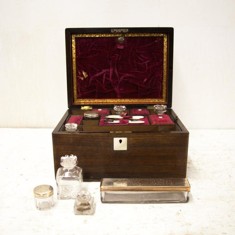 1800 English Fitted Dressing Box with Secret Drawer - Hide your money and passport and keep it safe when traveling with clothes and jewelry with secret compartments -Secret Stashing