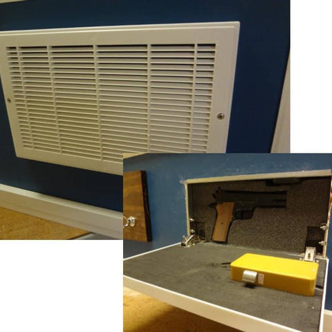Hidden Compartment for Gun Storage with RFID lock in a fake Wall Vent - Secret compartment decor - find furniture, statues and clocks and other decor products that look like your regular home decor with secret compartments and hidden drawers to keep your valuables hidden on plain sight -Secret Stashing