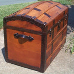 Antique Trunk (1873) with Hidden Compartments under Lid - Concealment furniture and gun concealment furniture to hide your money, pistol, rifle or other weapons, keep guns safe away from kids with hidden compartment furniture -Secret Stashing