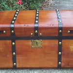 1800s Jenny Lind Restored Antique Trunk w Hidden Compartment - Concealment furniture to keep your guns and valuables safe from kids and thieves by using secret and hidden compartments -Secret Stashing