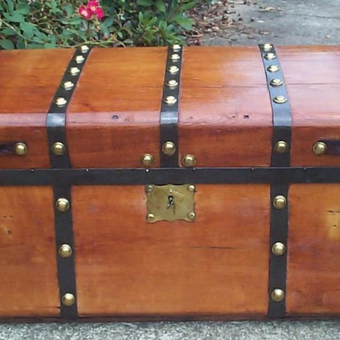 1800s Jenny Lind Restored Antique Trunk w Hidden Compartment - Concealment furniture and gun concealment furniture to hide your money, pistol, rifle or other weapons, keep guns safe away from kids with hidden compartment furniture -Secret Stashing