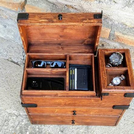Hidden compartment valet box with trays