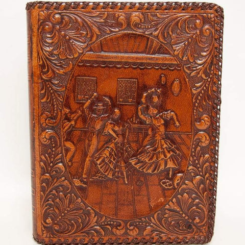 Book Shaped Hand Tooled Genuine Leather Hidden Storage Cigar Box