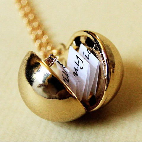 Shiny Gold Secret Message Locket