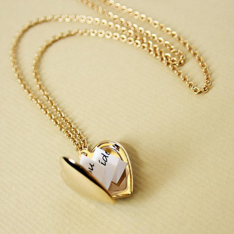 Gold Heart Secret Message Locket
