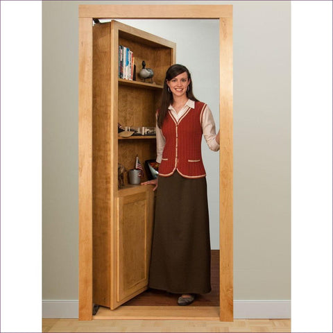 Universal Wood 4-Shelf Bookcase Door - Concealment furniture to keep your guns and valuables safe from kids and thieves by using secret and hidden compartments -Secret Stashing