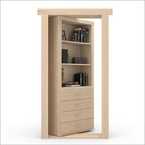 Maple Unfinished Right-Hand Inswing Hidden Door - Concealment furniture to keep your guns and valuables safe from kids and thieves by using secret and hidden compartments -Secret Stashing