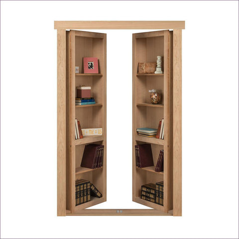 Cherry Unfinished In-Swing Solid Core Interior French Bookcase Door - Concealment furniture to keep your guns and valuables safe from kids and thieves by using secret and hidden compartments -Secret Stashing