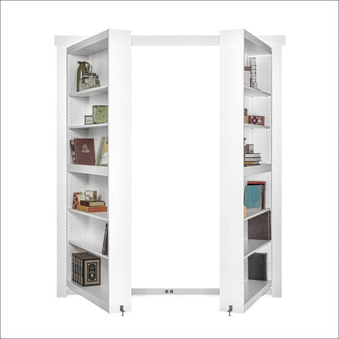 White Out-Swing Bookcase Door - Concealment furniture to keep your guns and valuables safe from kids and thieves by using secret and hidden compartments -Secret Stashing