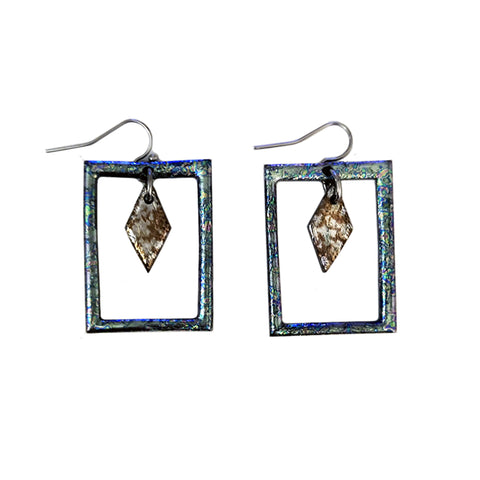 Frame Diamond Silver Blue with Golden Silver