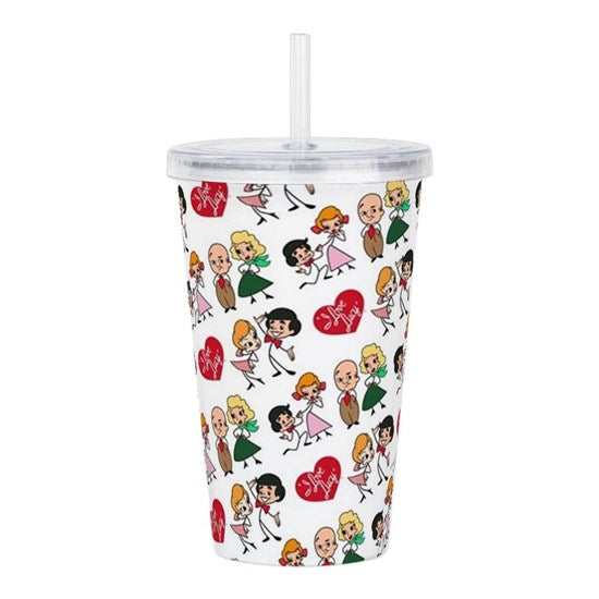 4 CHARACTER Tumbler WITH STRAW