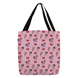 Pink Stick Figure Tote Bag