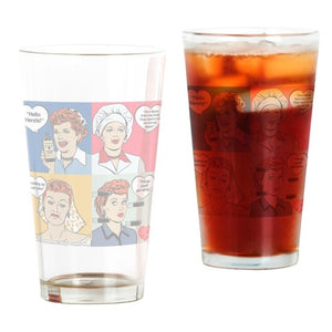 Collage Drinking Glass-Faces 16 ounce
