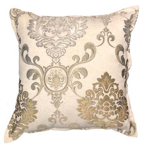 Gold Damask Scatter cushion on white fabric