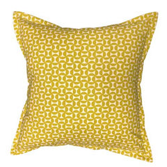 Geo scatter cushion in chartreuse colour