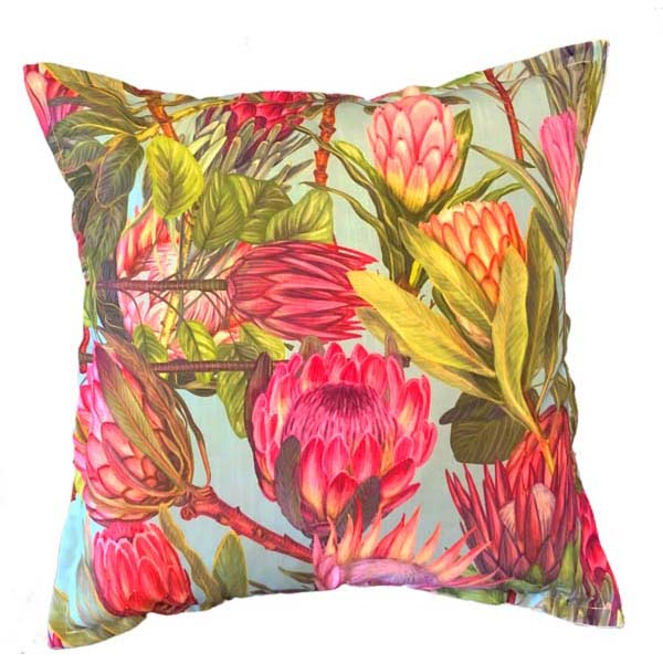 Painted Protea Cushion on Aqua background