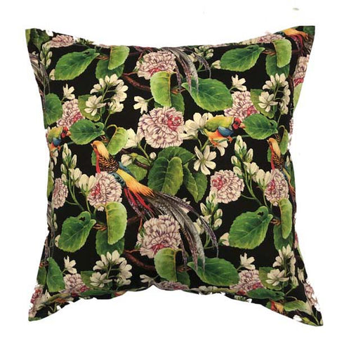 Birds of Paradise Black Cushion