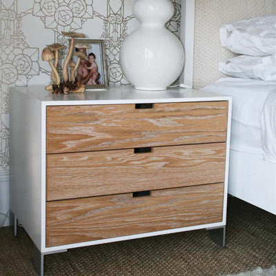 White contemporary pedestal with 3 oak drawers