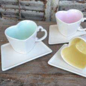 Ceramic Sweetheart Coffee Mugs and Saucers