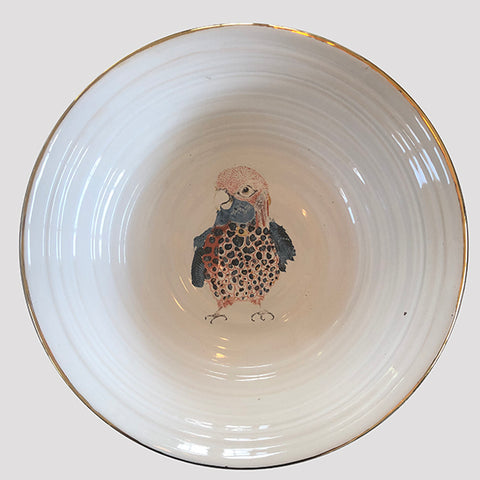 Love bird serving bowl with gold lustre