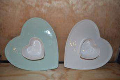 Handmade heart dip platter made of ceramic | Dining room decor