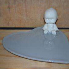 Handmade ceramic kewpie platter in aqua colour