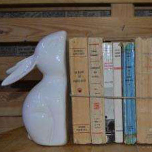 Ceramic Bunny Bookends
