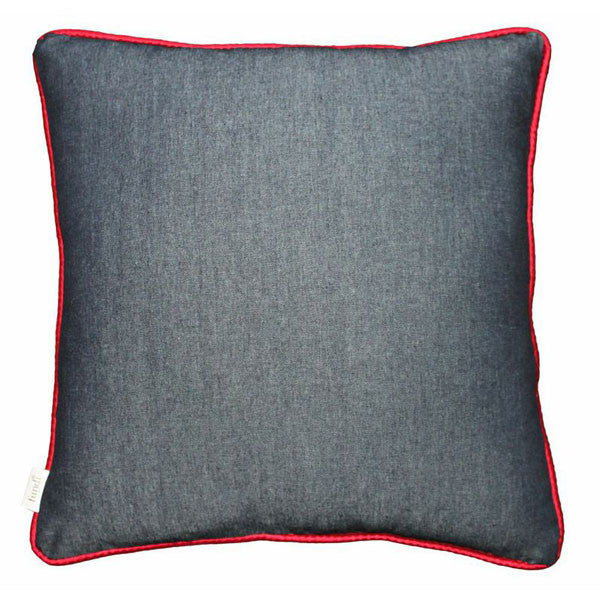 Buy this Denim scatter cushion with red colour piping online now