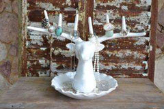 White ceramic stag head jewellery holder