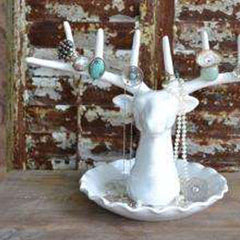 Ceramic Stag Head Jewellery holder