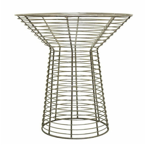 Chrome  Wire Side Table Glass Top