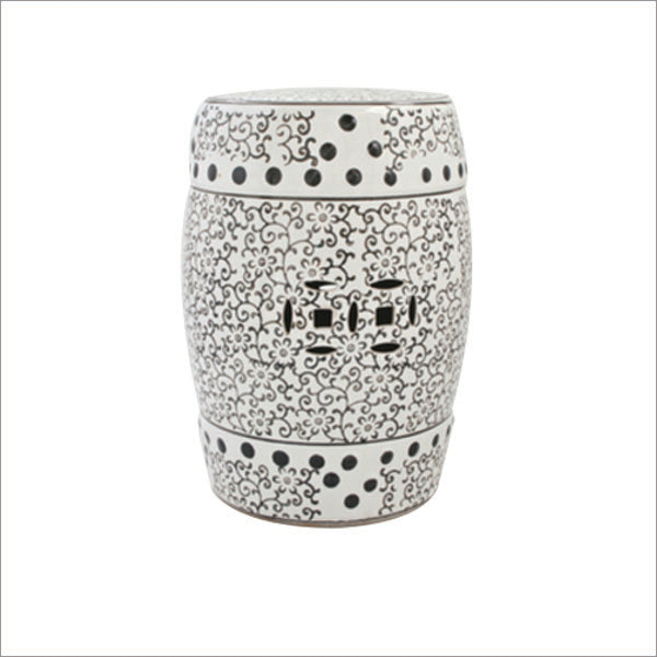 Black and White Garden Stool