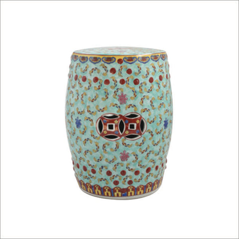 Aqua and Red Garden Stool