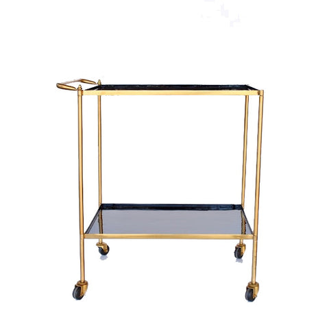 Black Enamel and Brass Trolley