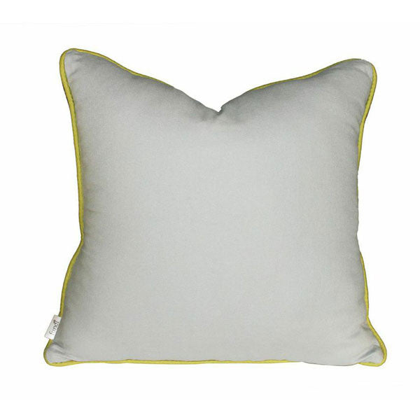 Grey linen scatter cushion with avocado colour piping