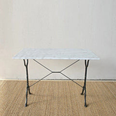 White Marble Rect Top Table
