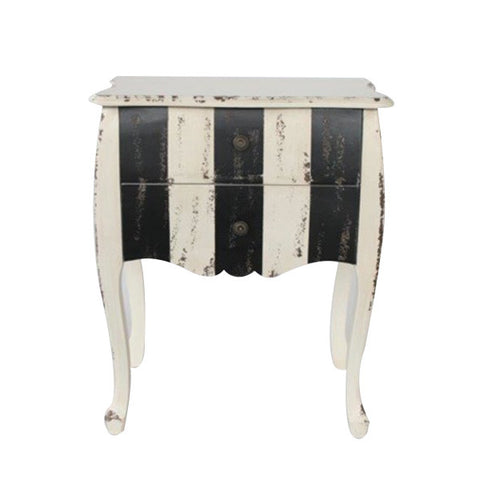 2 DRAWER BLACK & WHITE STRIPE BEDSIDE