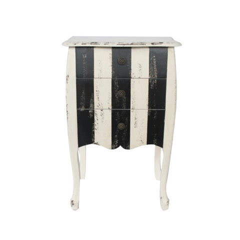 3 DRAWER BLACK & WHITE STRIPE BEDSIDE