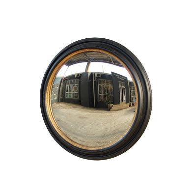 ROUND BLACK AND GOLD FRAMED CONVEX MIRROR