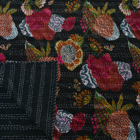 IKAT BLACK TROPICAL COTTON THROW