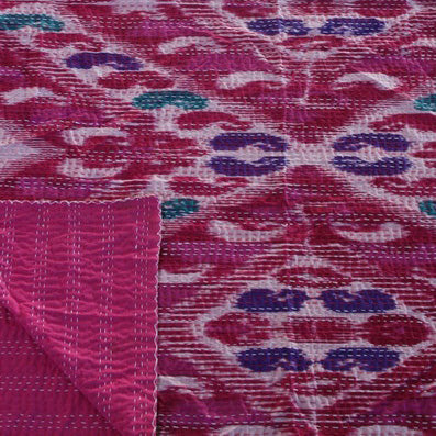 IKAT PINK, PURPLE MULTI COLOUR COTTON THROW